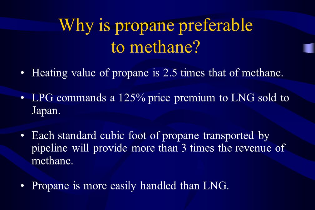 Why is propane preferable to methane