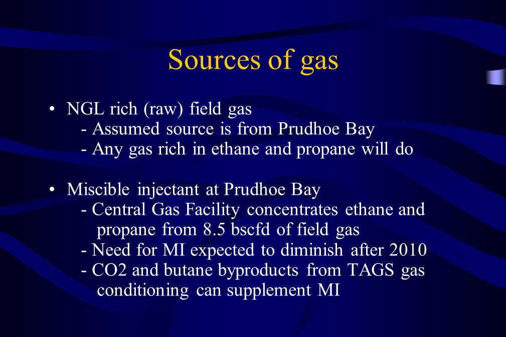 Sources of gas NGL rich (raw) field gas