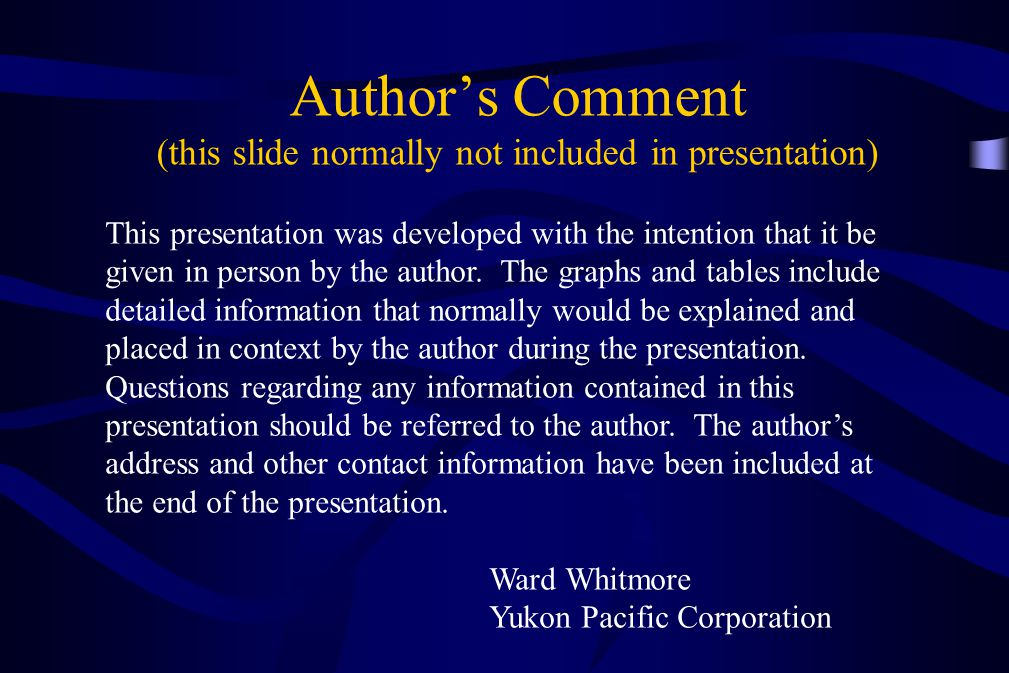 Author's Comment (this slide normally not included in presentation)