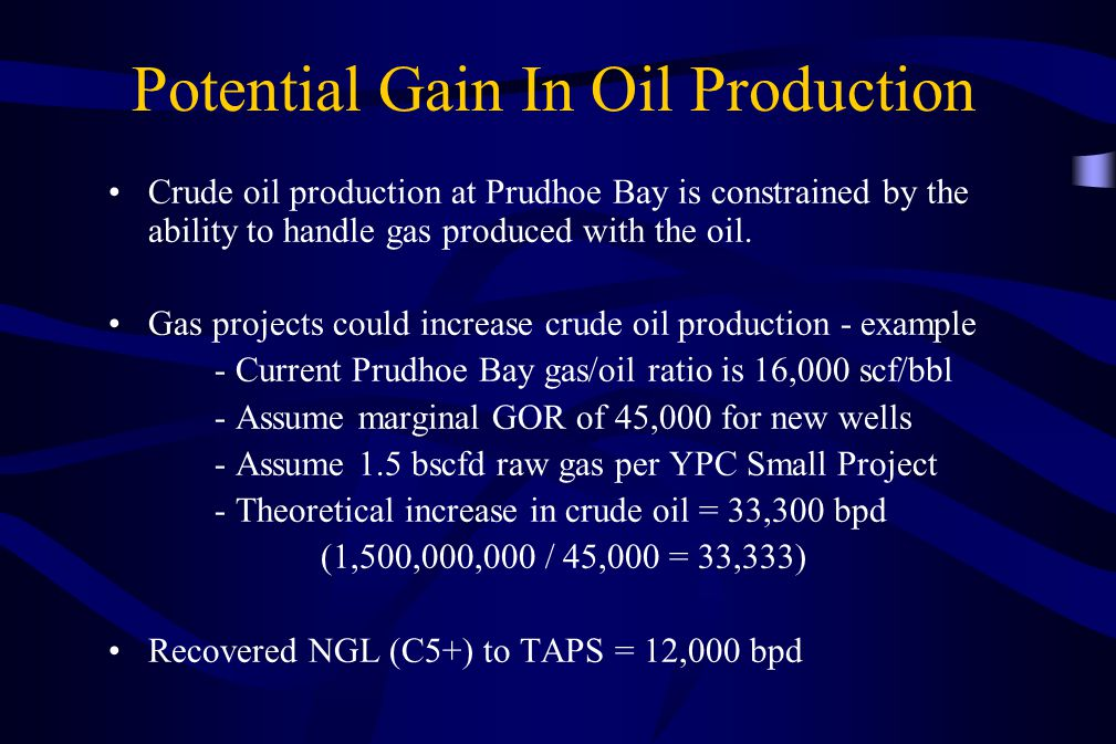 Potential Gain In Oil Production