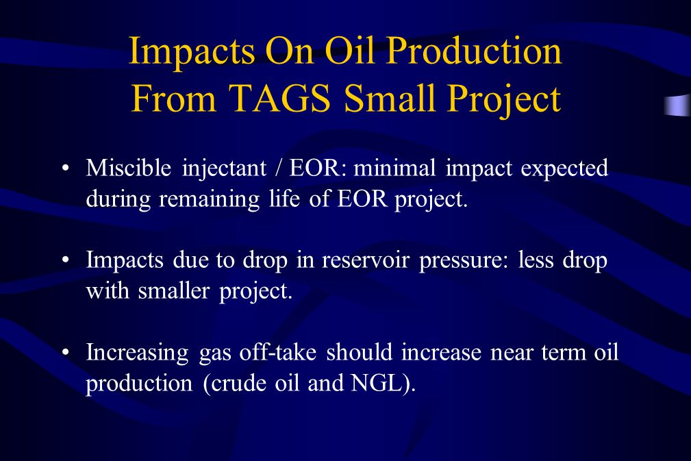 Impacts On Oil Production From TAGS Small Project