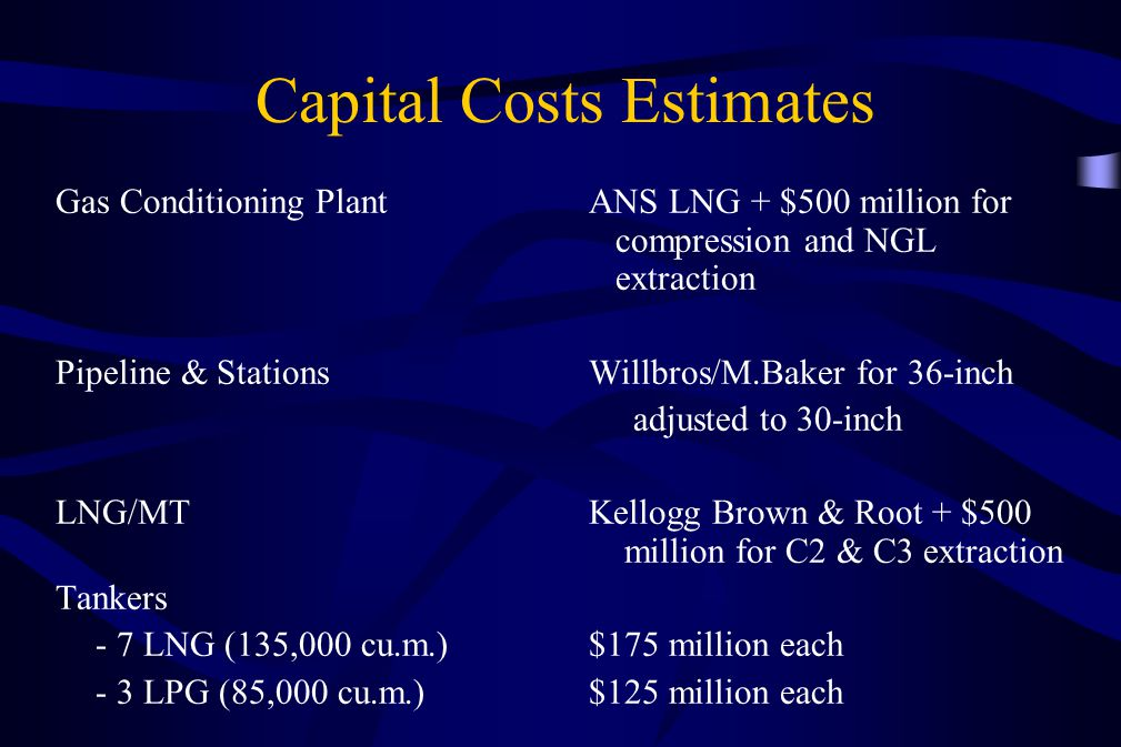 Capital Costs Estimates