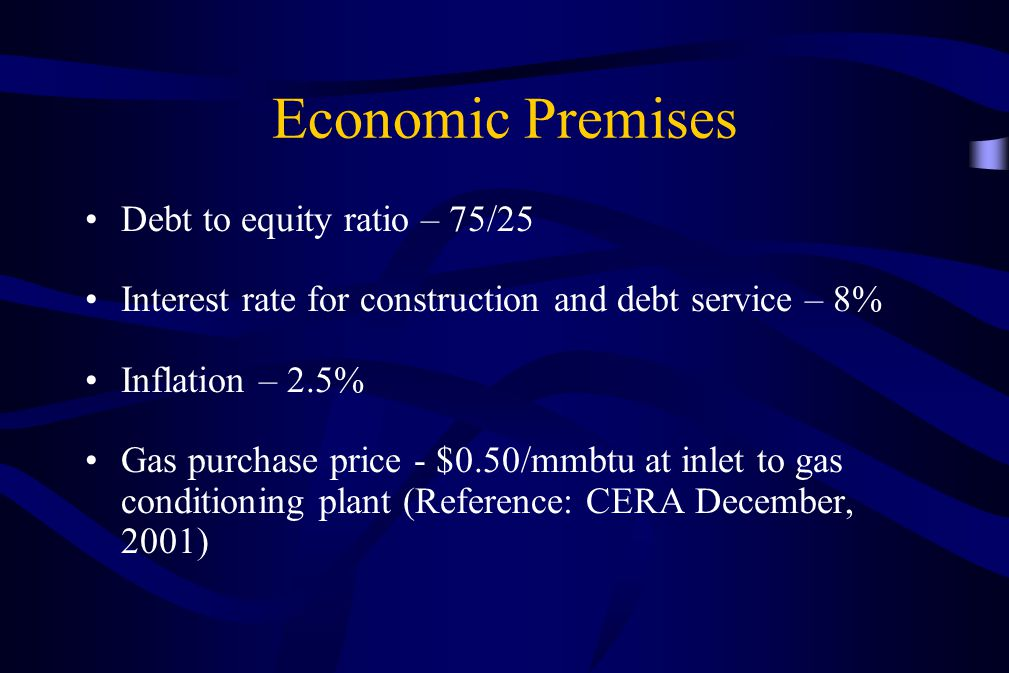 Economic Premises Debt to equity ratio – 75/25