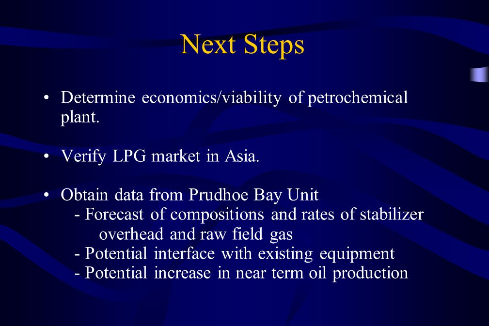 Next Steps Determine economics/viability of petrochemical plant.