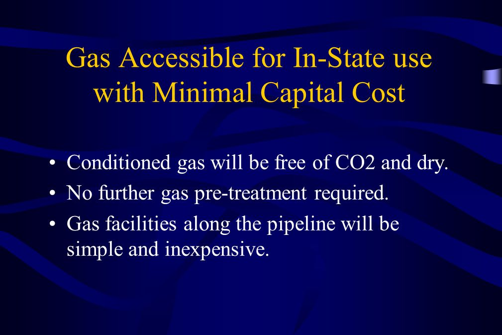 Gas Accessible for In-State use with Minimal Capital Cost