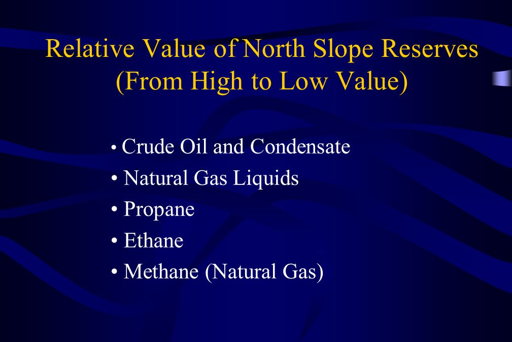 Relative Value of North Slope Reserves (From High to Low Value)