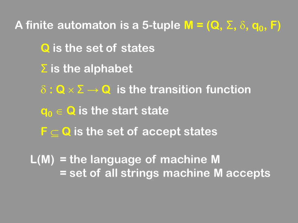 A finite automaton is a 5-tuple M = (Q, Σ, , q0, F)