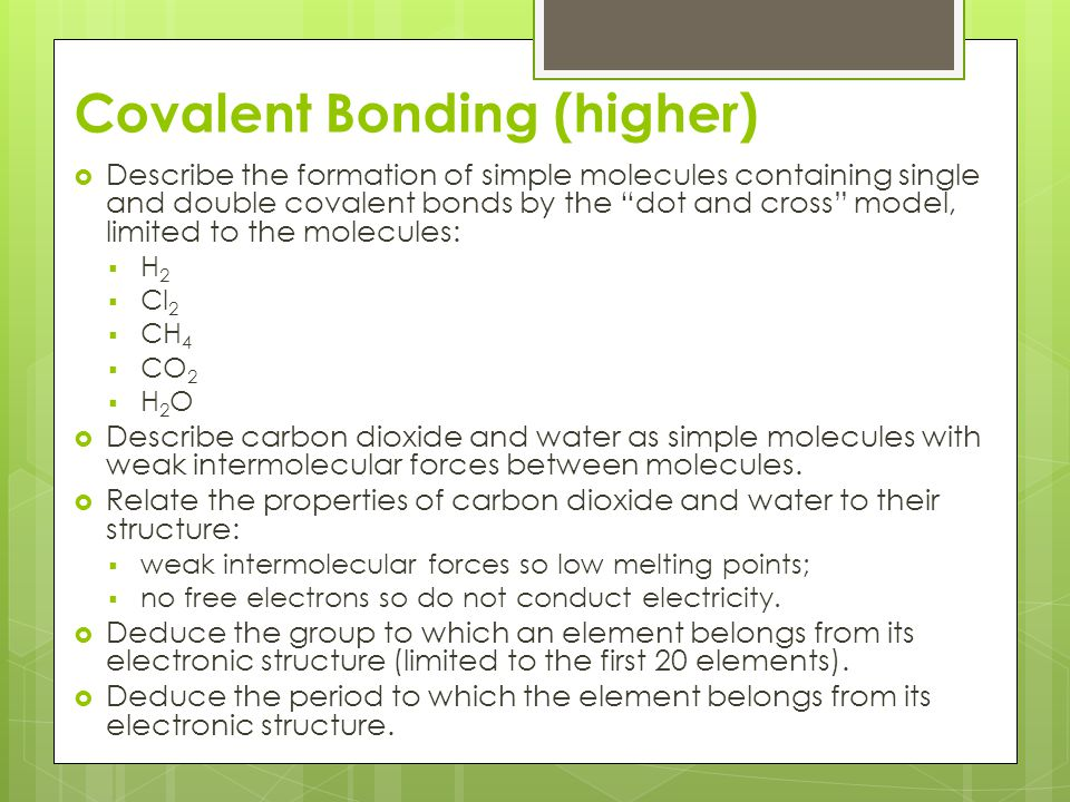 Covalent Bonding (higher)