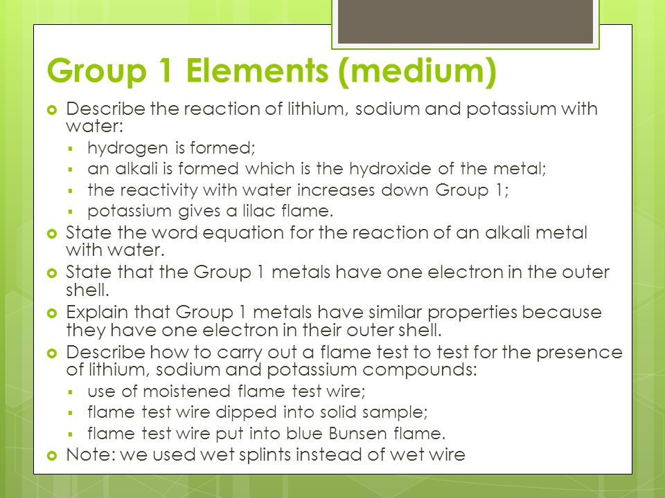 Group 1 Elements (medium)