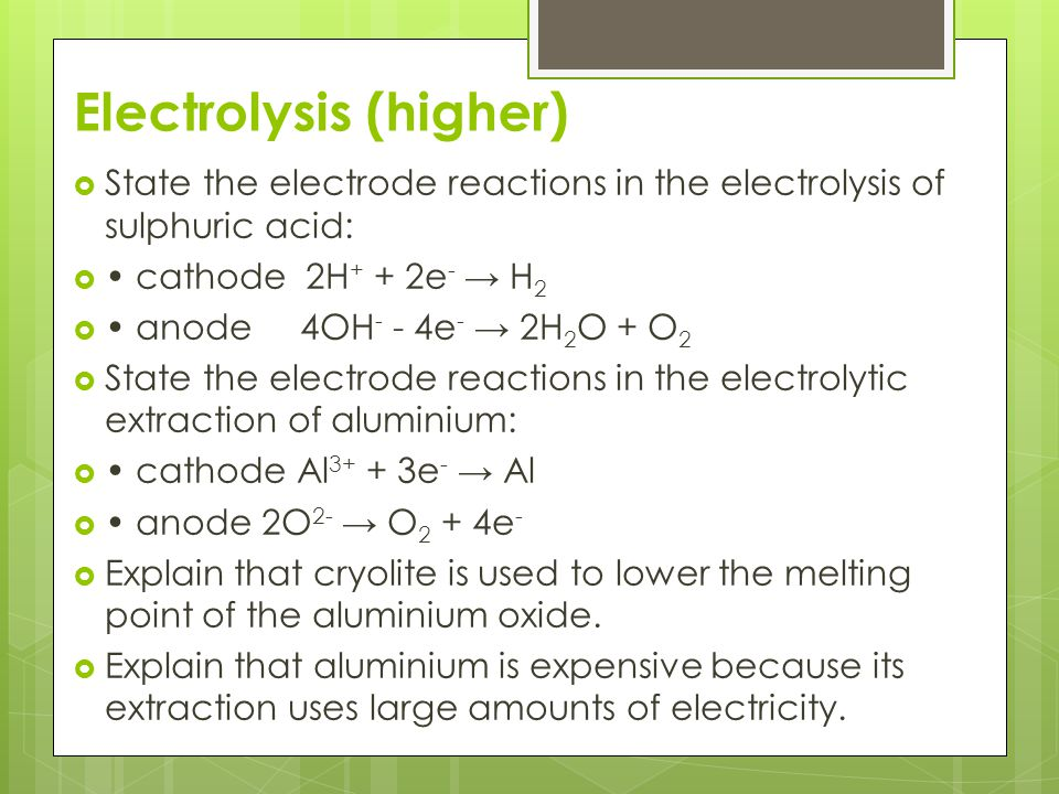 Electrolysis (higher)
