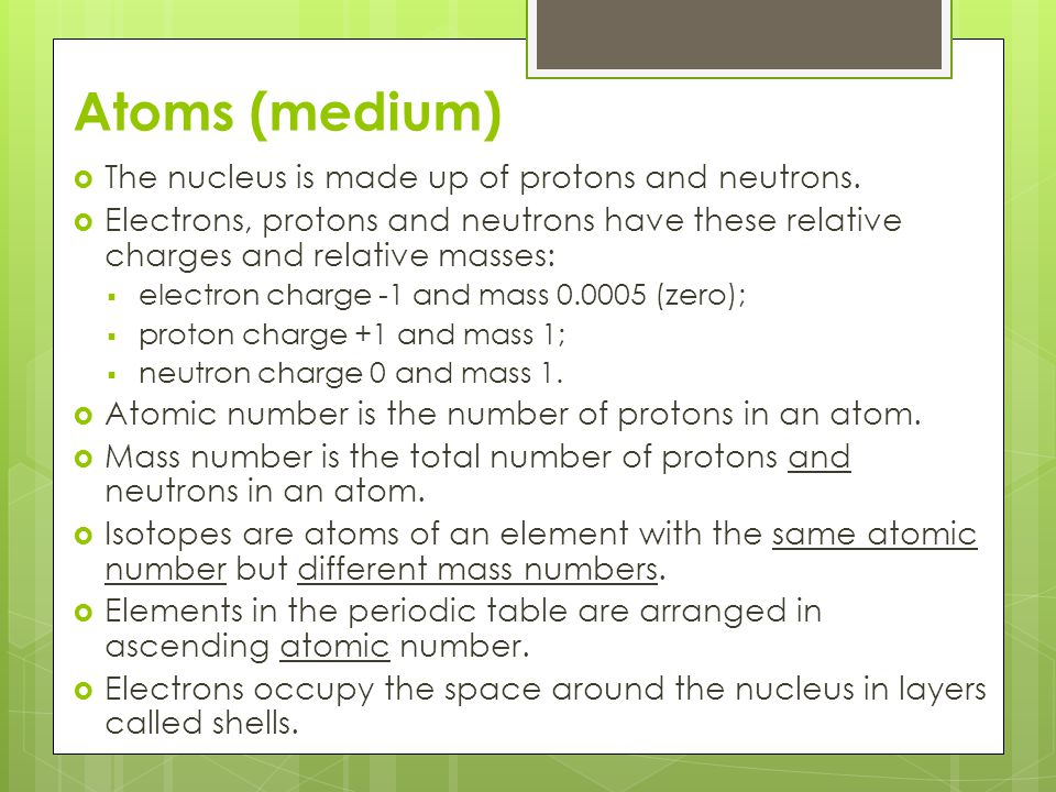 Atoms (medium) The nucleus is made up of protons and neutrons.