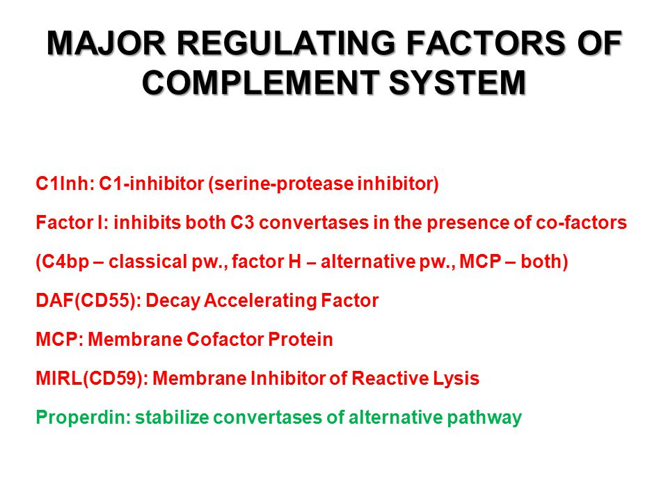 MAJOR REGULATING FACTORS OF COMPLEMENT SYSTEM