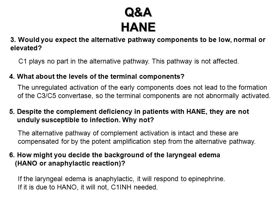 Q&A HANE. 3. Would you expect the alternative pathway components to be low, normal or. elevated