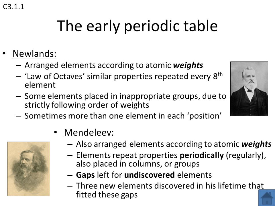 Aqa unit 3 chemistry 3 c31 the periodic table c32 water ppt the early periodic table urtaz Choice Image