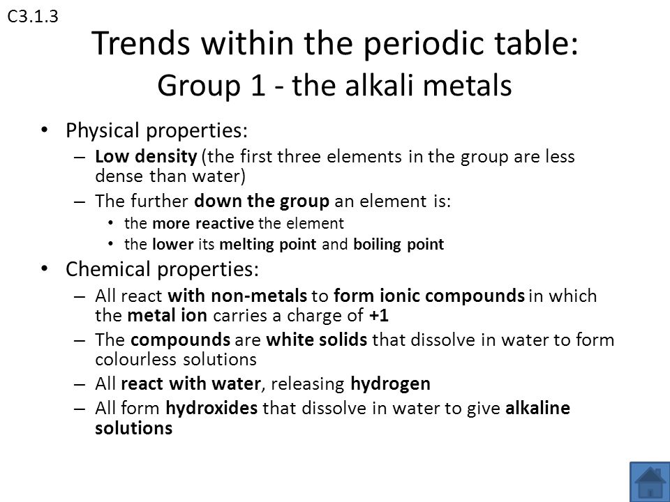 Aqa unit 3 chemistry 3 c31 the periodic table c32 water ppt 5 trends within the periodic table group 1 the alkali metals urtaz Choice Image
