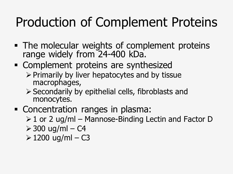 Production of Complement Proteins