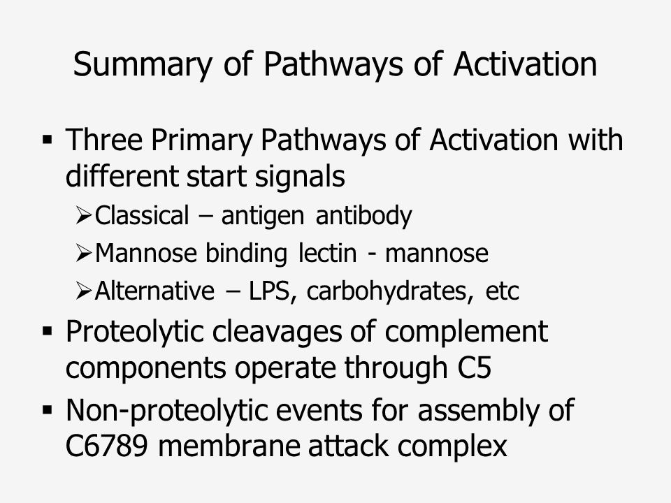 Summary of Pathways of Activation