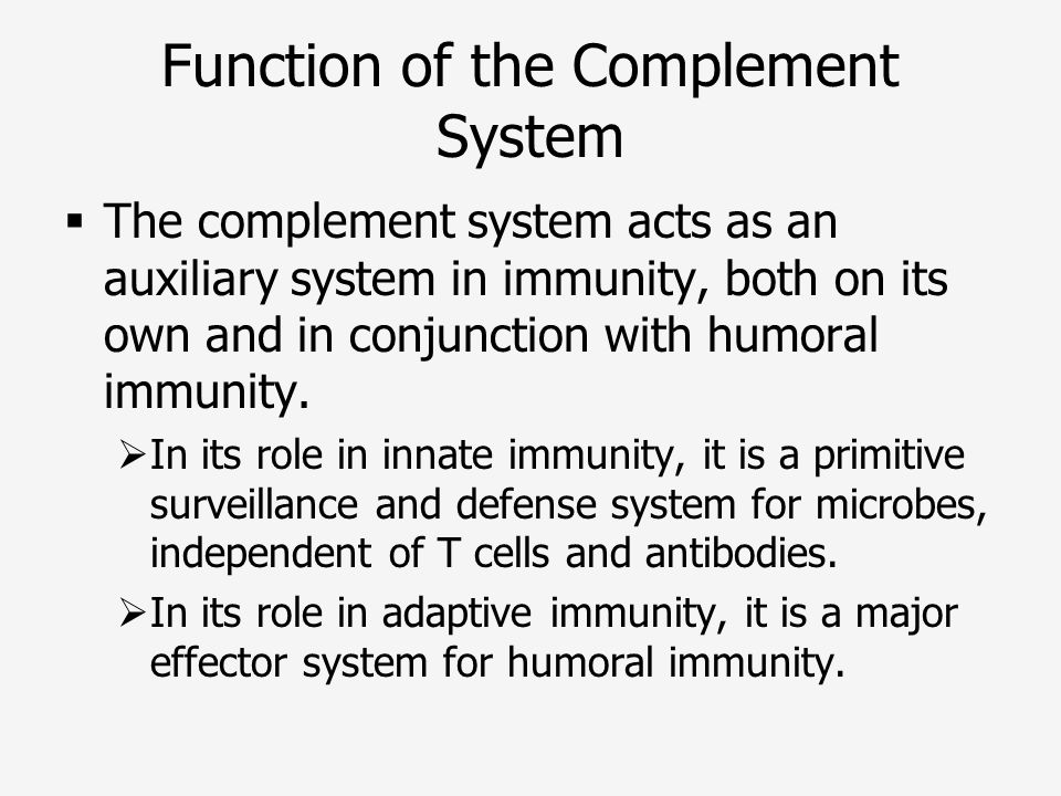 Function of the Complement System
