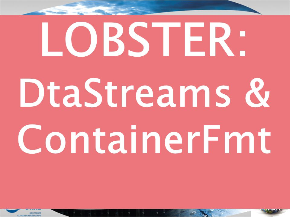LOBSTER: DtaStreams & ContainerFmt