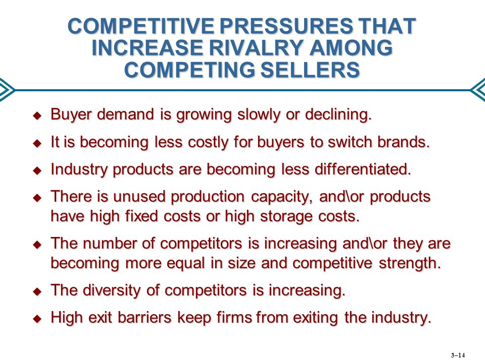 COMPETITIVE PRESSURES THAT INCREASE RIVALRY AMONG COMPETING SELLERS