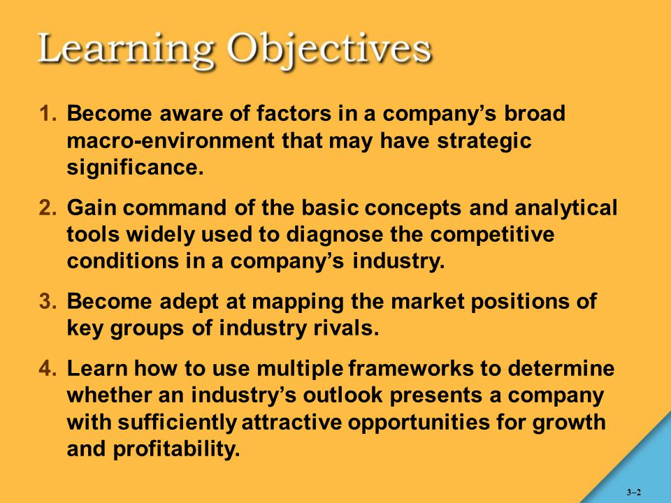 Become aware of factors in a company's broad macro-environment that may have strategic significance.