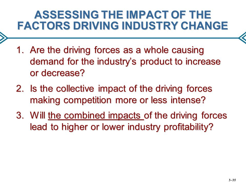 ASSESSING THE IMPACT OF THE FACTORS DRIVING INDUSTRY CHANGE