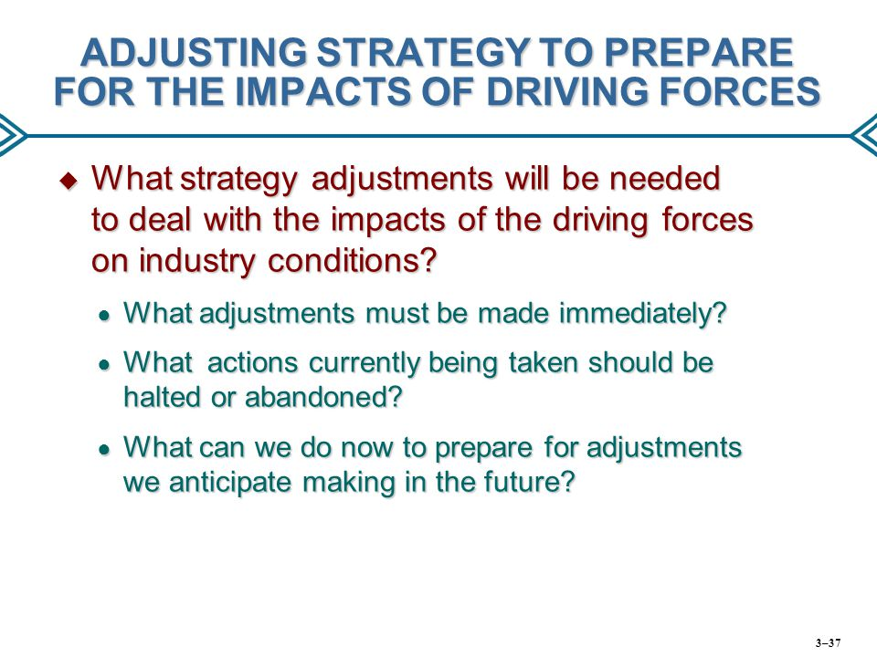ADJUSTING STRATEGY TO PREPARE FOR THE IMPACTS OF DRIVING FORCES