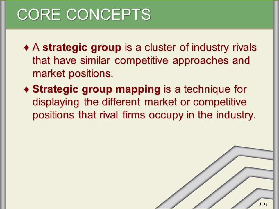 A strategic group is a cluster of industry rivals that have similar competitive approaches and market positions.
