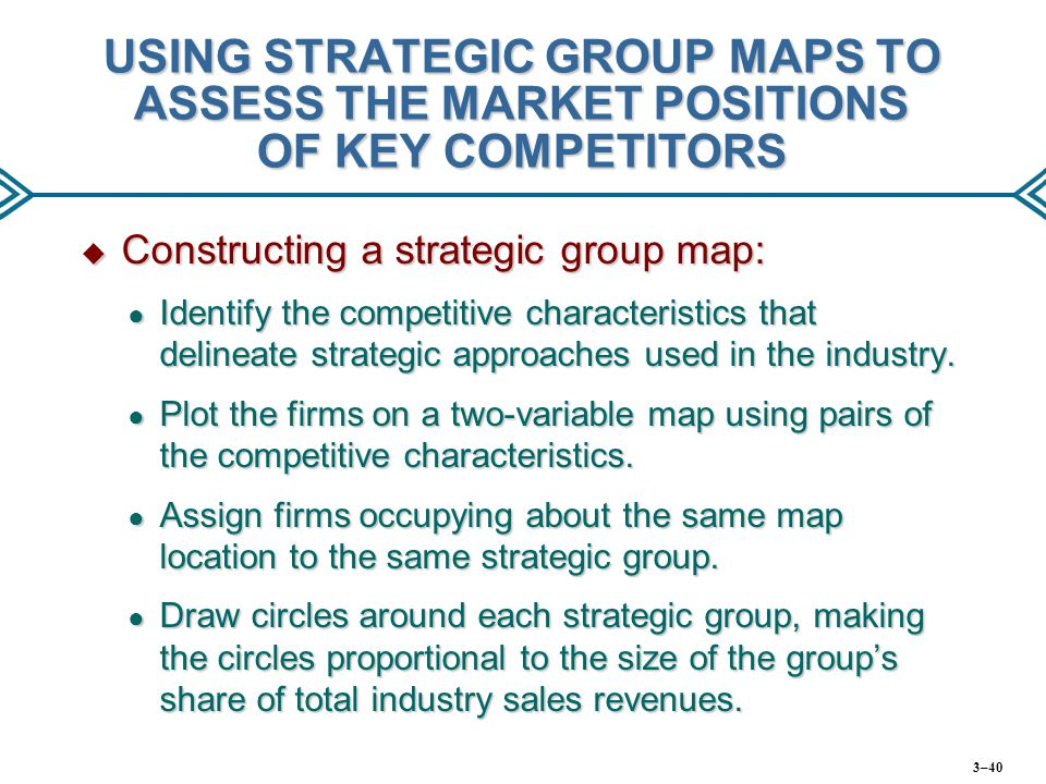USING STRATEGIC GROUP MAPS TO ASSESS THE MARKET POSITIONS OF KEY COMPETITORS