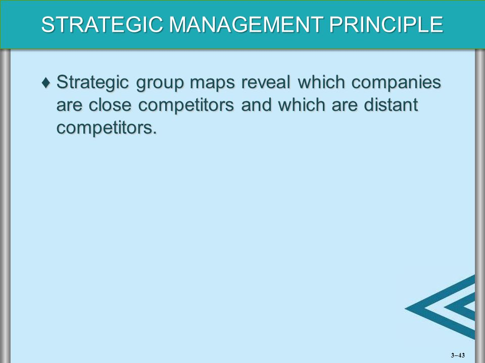 Strategic group maps reveal which companies are close competitors and which are distant competitors.