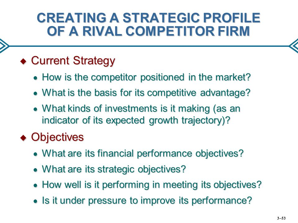 CREATING A STRATEGIC PROFILE OF A RIVAL COMPETITOR FIRM