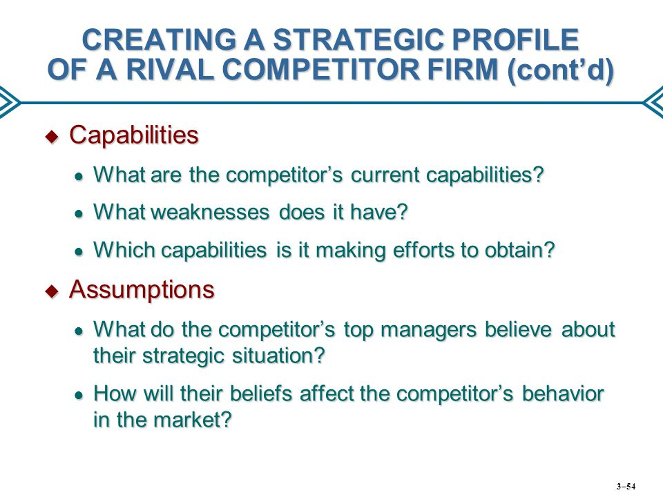 CREATING A STRATEGIC PROFILE OF A RIVAL COMPETITOR FIRM (cont'd)