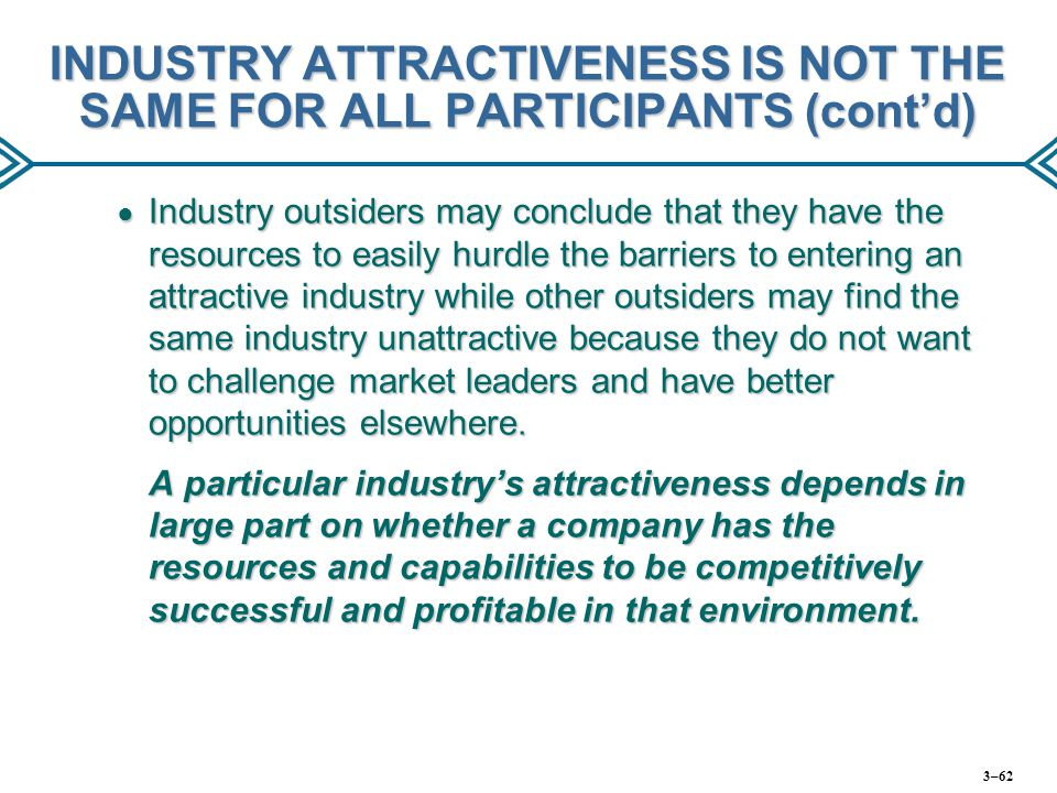 INDUSTRY ATTRACTIVENESS IS NOT THE SAME FOR ALL PARTICIPANTS (cont'd)