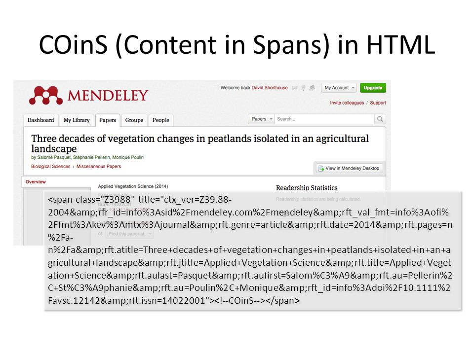 COinS (Content in Spans) in HTML