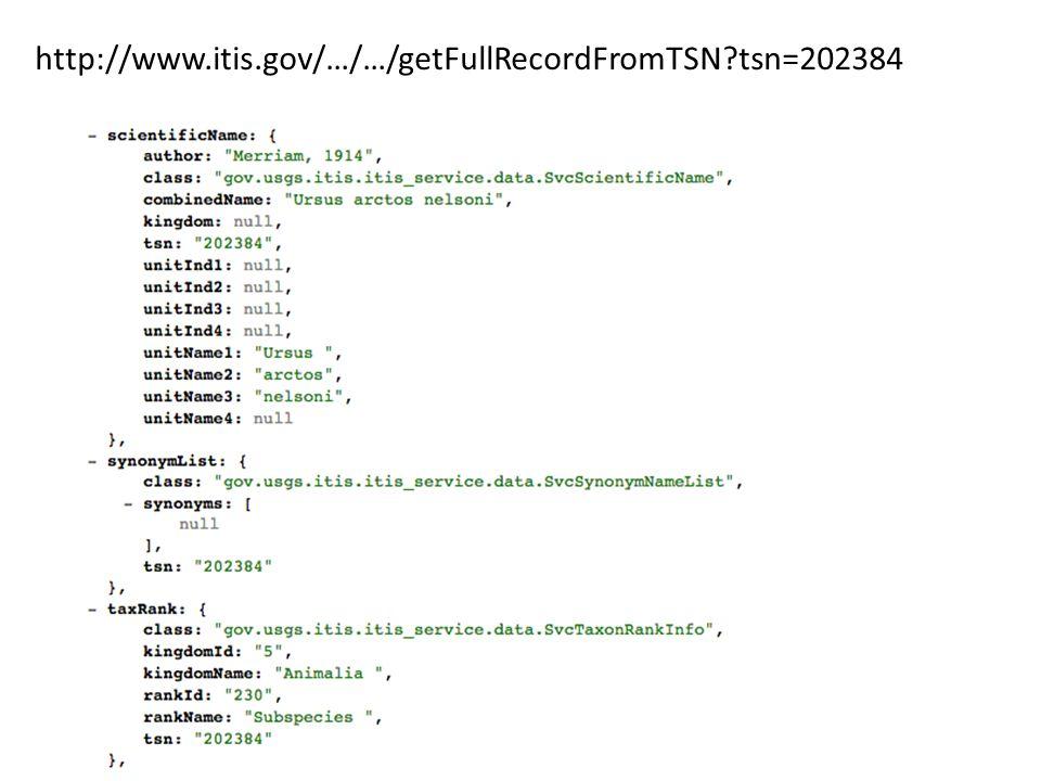 http://www.itis.gov/…/…/getFullRecordFromTSN tsn=202384