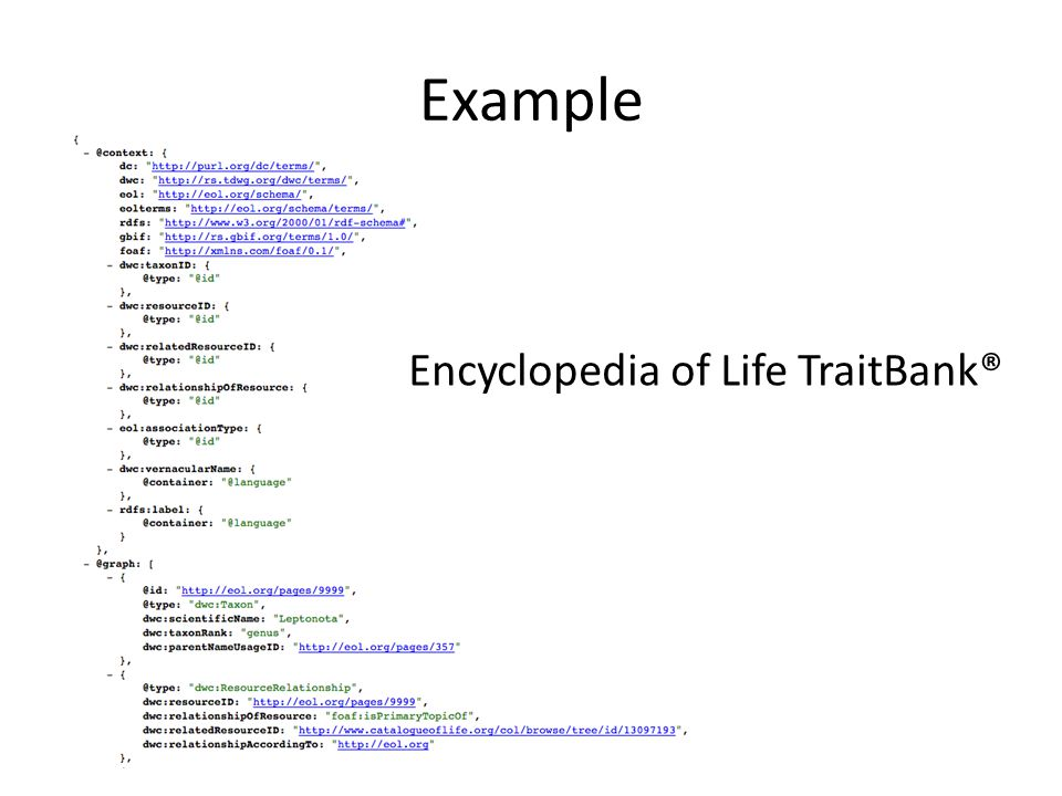 Example Encyclopedia of Life TraitBank®