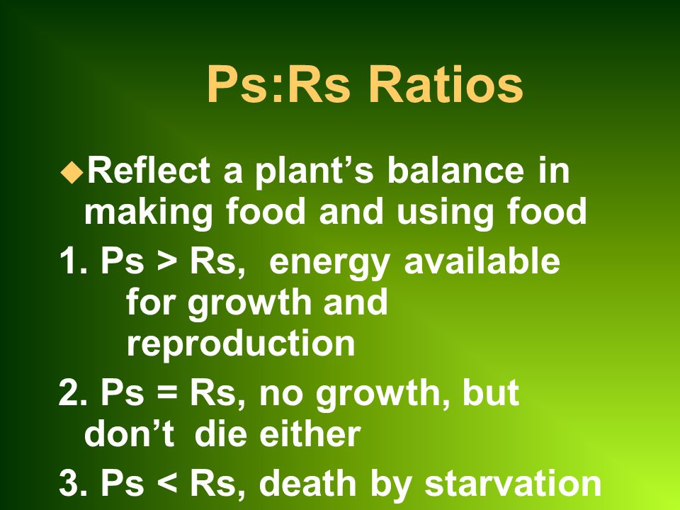 Ps:Rs Ratios Reflect a plant's balance in making food and using food