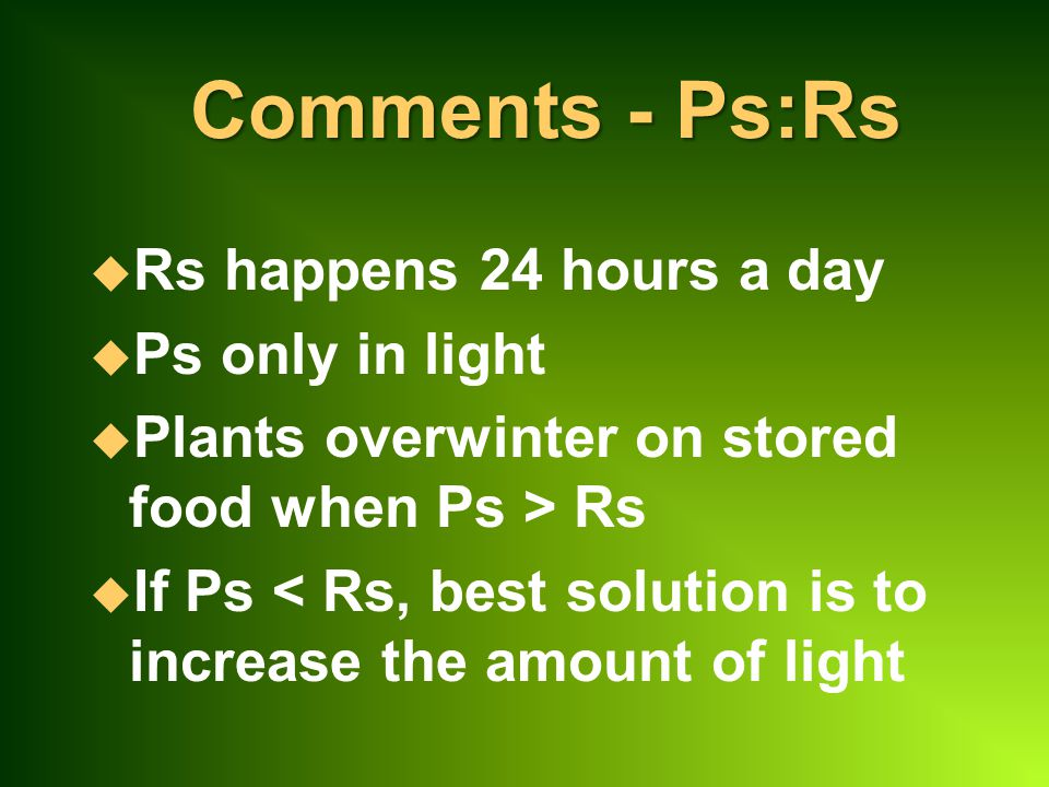 Comments - Ps:Rs Rs happens 24 hours a day Ps only in light