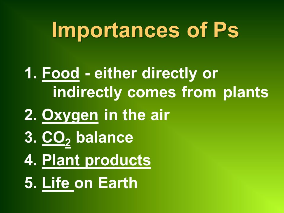 Importances of Ps 1. Food - either directly or indirectly comes from plants. 2. Oxygen in the air.