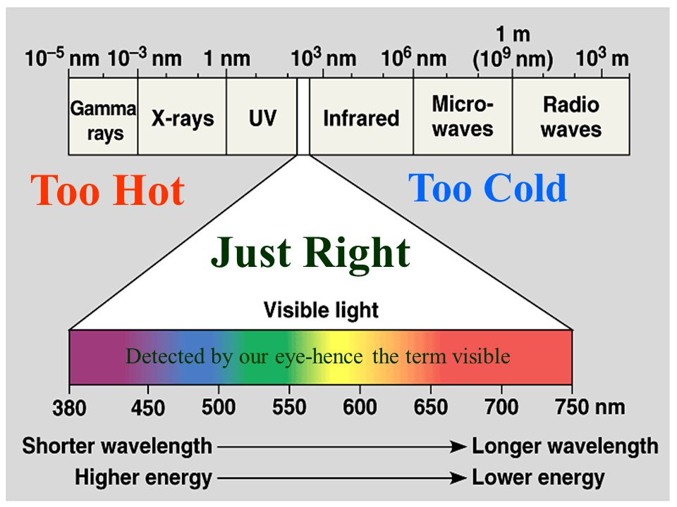 Too Hot Too Cold Just Right Detected by our eye-hence the term visible