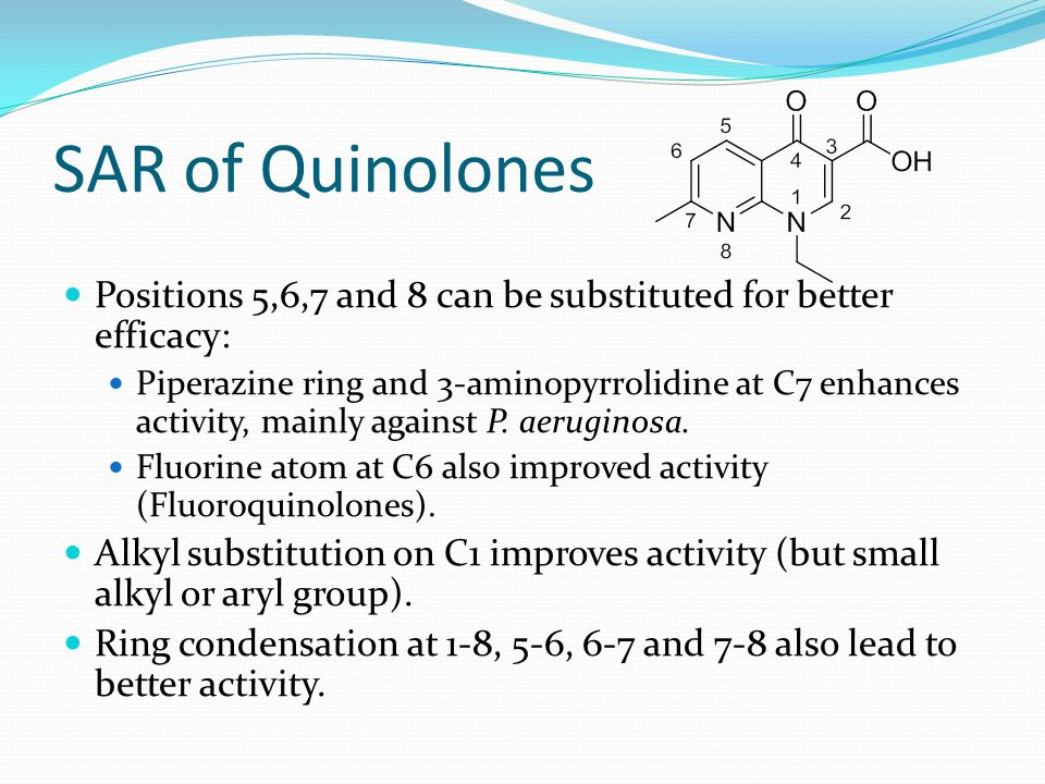 SAR of Quinolones Positions 5,6,7 and 8 can be substituted for better efficacy: