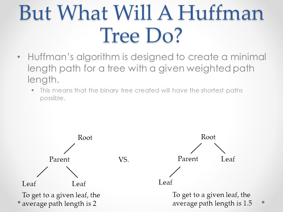 But What Will A Huffman Tree Do