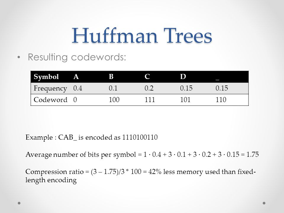 Huffman Trees Resulting codewords: Symbol A B C D _ Frequency 0.4 0.1