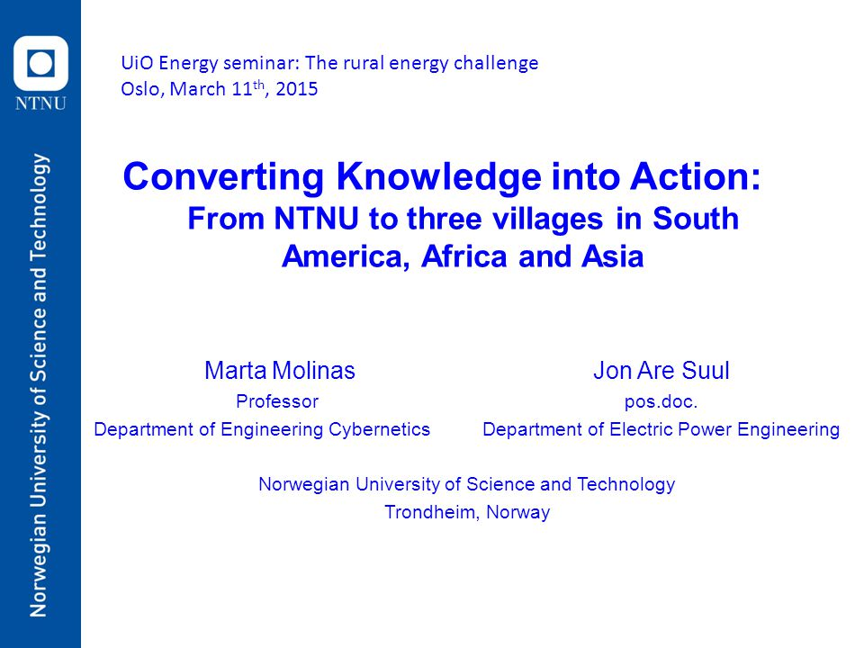 From NTNU to three villages in South America, Africa and Asia
