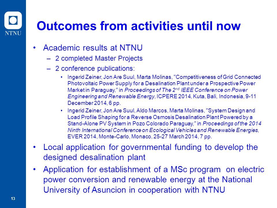 Outcomes from activities until now