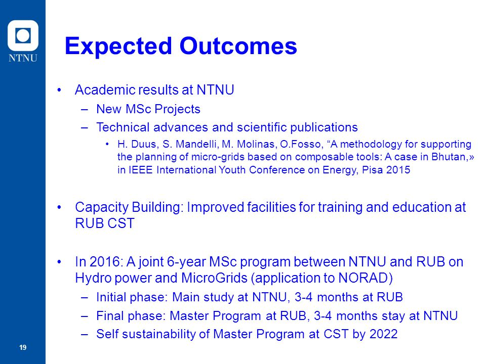 Expected Outcomes Academic results at NTNU