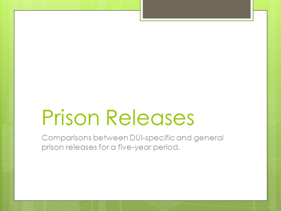 Prison Releases Comparisons between DUI-specific and general prison releases for a five-year period.