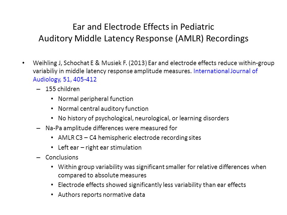 Ear and Electrode Effects in Pediatric Auditory Middle Latency Response (AMLR) Recordings