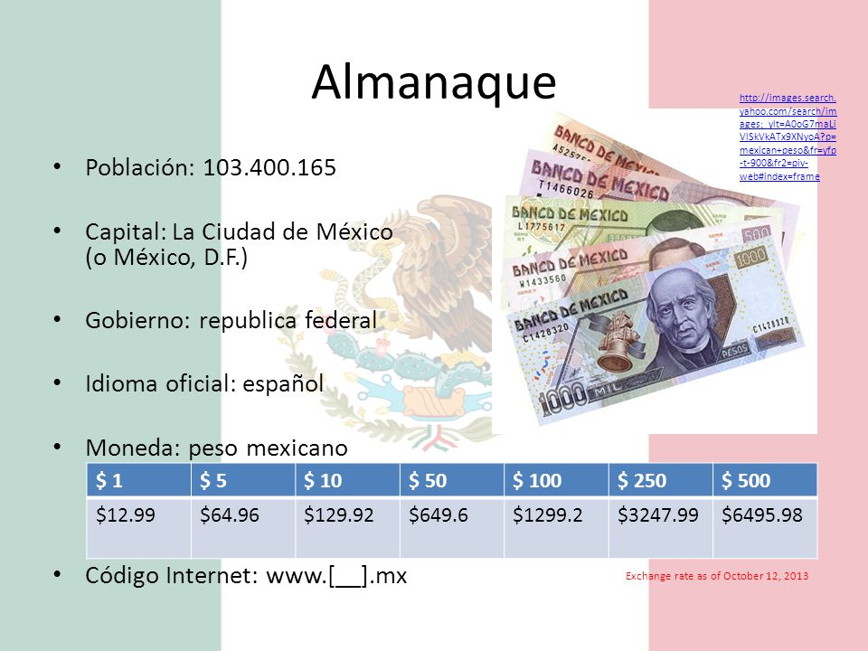 Almanaque http://images.search.yahoo.com/search/images;_ylt=A0oG7maLiVlSkVkATx9XNyoA p=mexican+peso&fr=yfp-t-900&fr2=piv-web#index=frame.