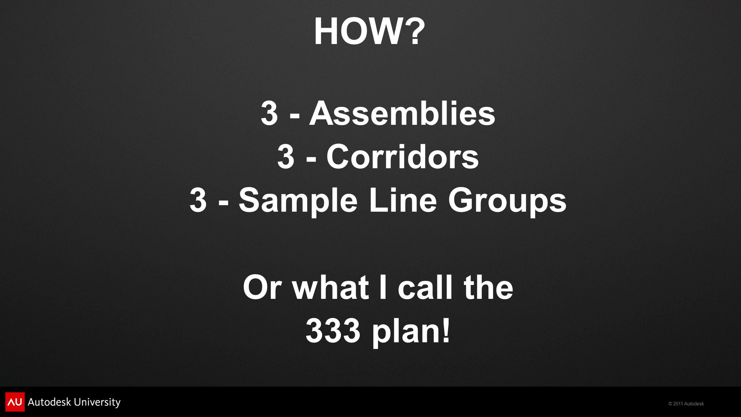 HOW 3 - Assemblies 3 - Corridors 3 - Sample Line Groups